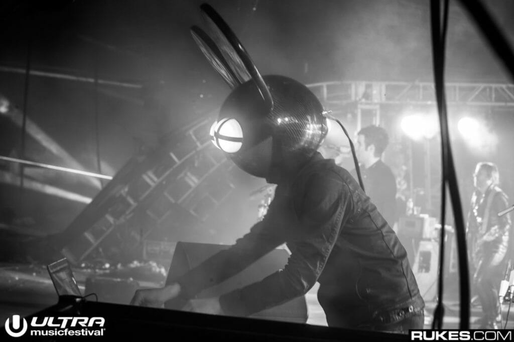 Deadmau5 performs at Ultra Music Festival. Like Tiesto, he's one of the legends on the lineup.