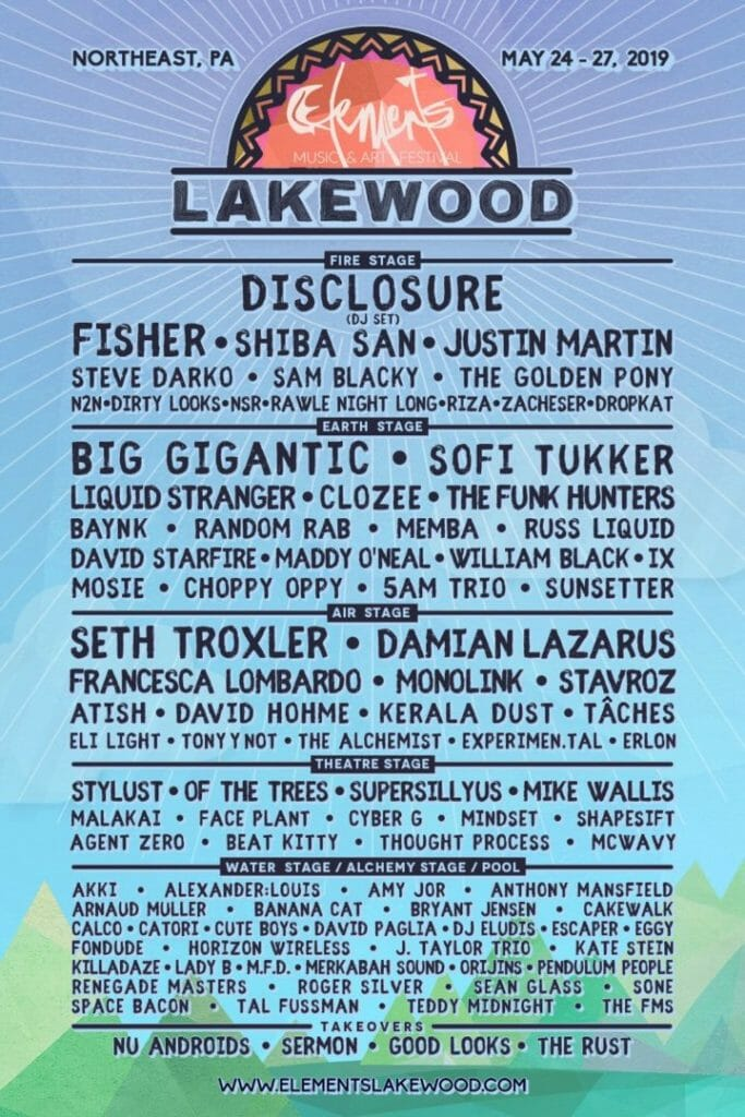 Elements Lakewood Music and Arts Festival 2019 full lineup.