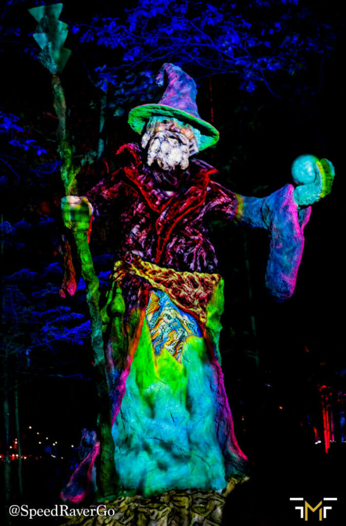 Electric Forest wizard sculpture