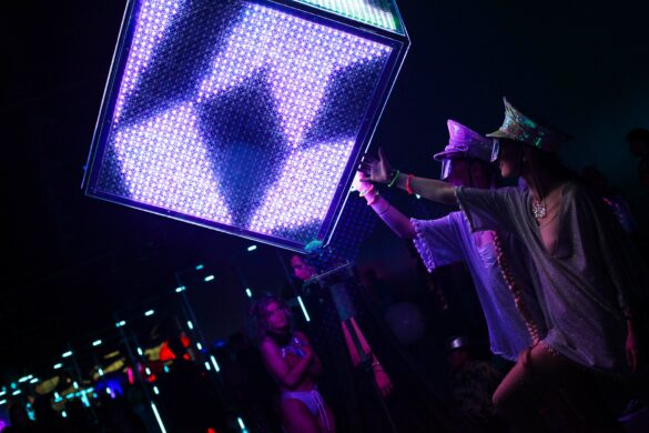 LED Cube art installation at Decadence Colorado 2019