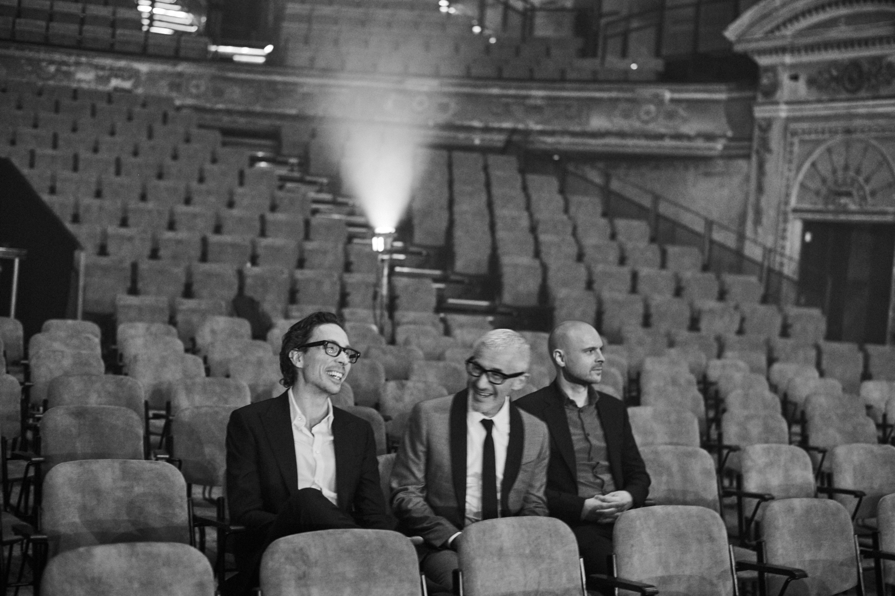 Black and White image of Above & Beyond in a theatre.