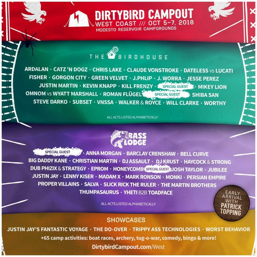 Click here for tickets! Dirtybird West Coast Campout 2018