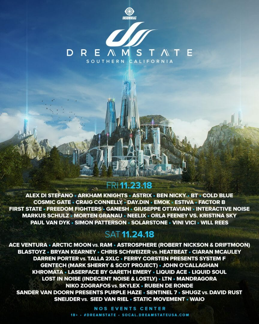 Dreamstate Socal 2018 Daily Lineup | Get your Tickets Here!