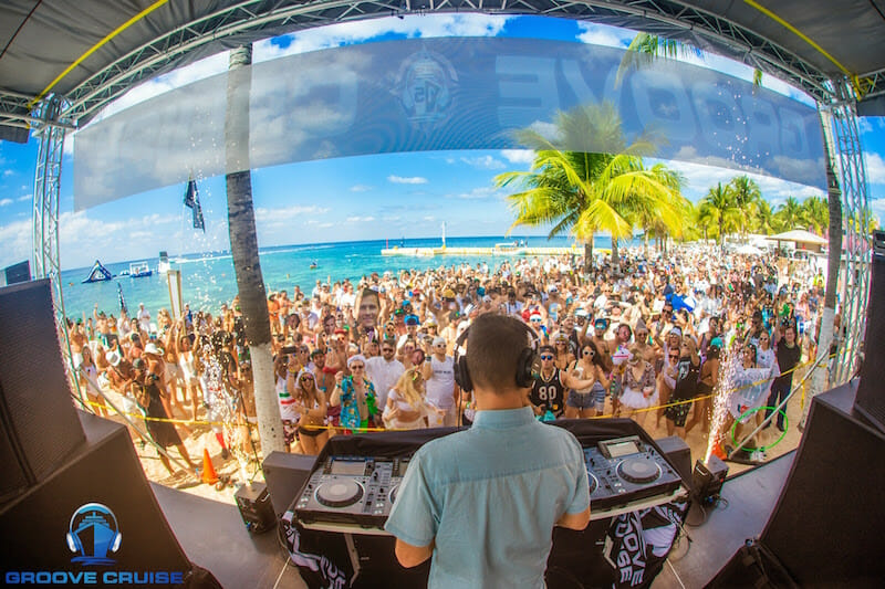 Kaskade dropping a 3-hour set on the beach.