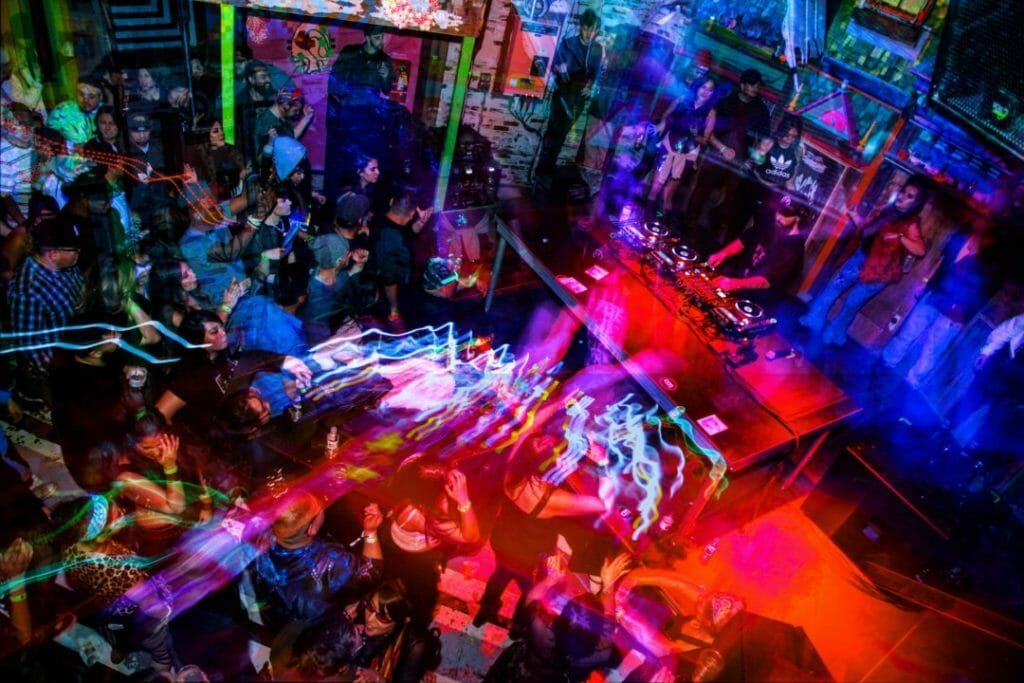 Will Clarke Meow Wolf concert DJ light streak