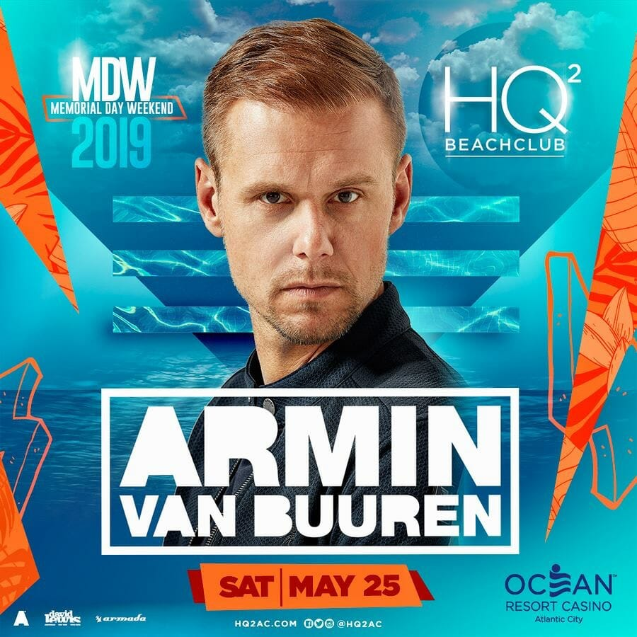 This Memorial Day Weekend, Armin van Buuren will be playing a poolside set at HQ2 Day Club in Atlantic City.