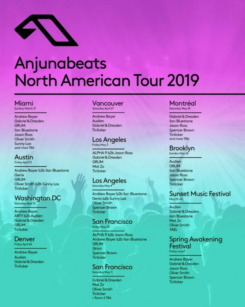 Anjunabeats North American Tour stops with ilan Bluestone, Andrew Bayer, and more!