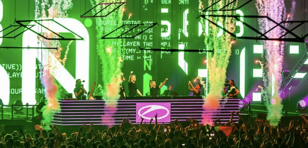 FUTURECODE and Ruben de Ronde on stage during ASOT 900 presenting their new track, 'Trilogy'.