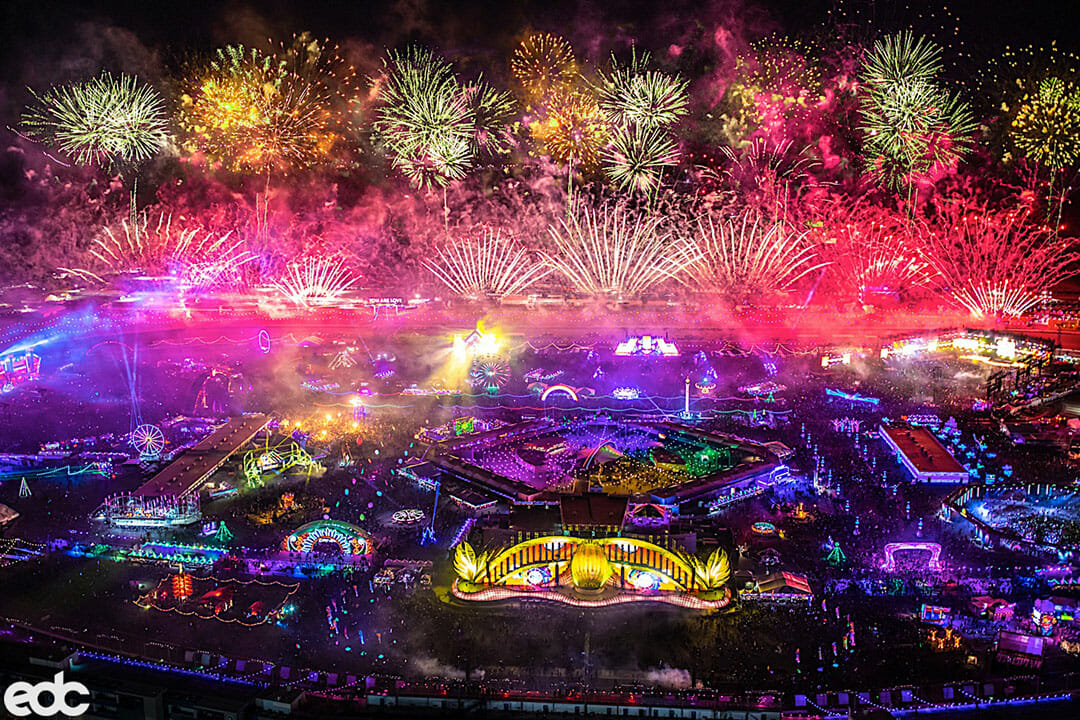 EDC Las Vegas 2019 Fireworks from above