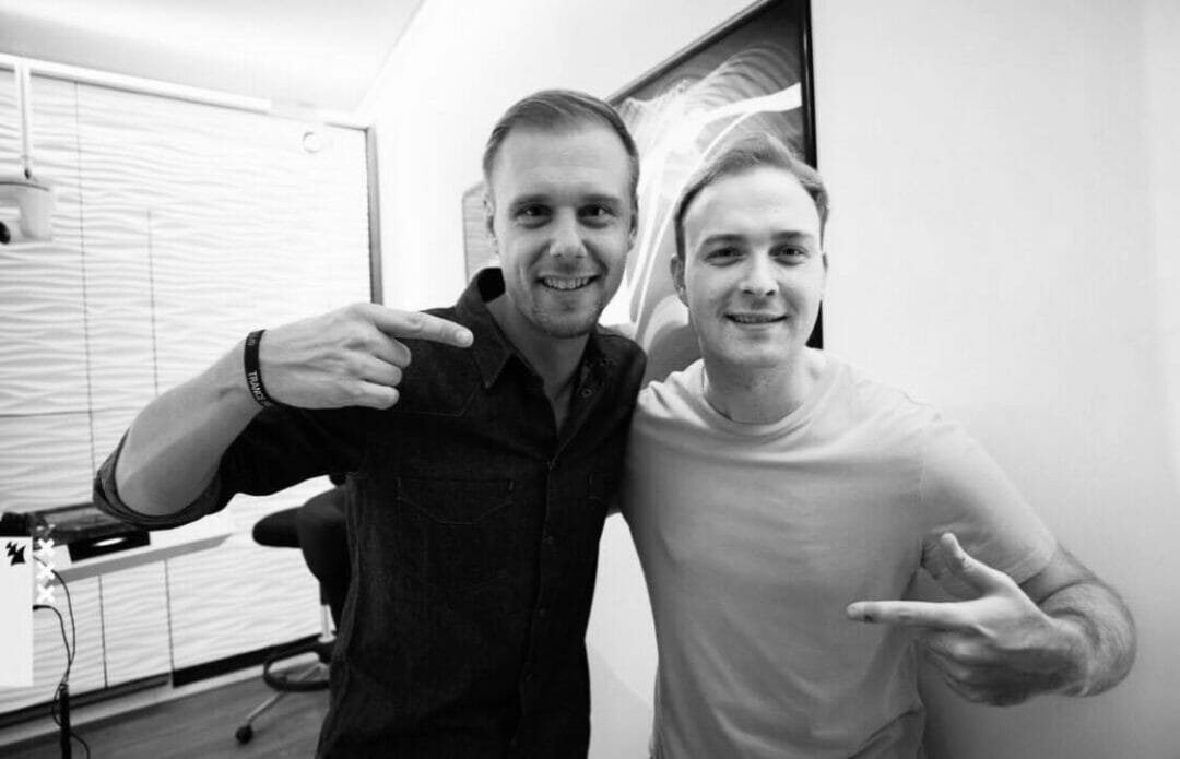 Luke Bond with Armin van Buuren at the ASOT studio in Amsterdam