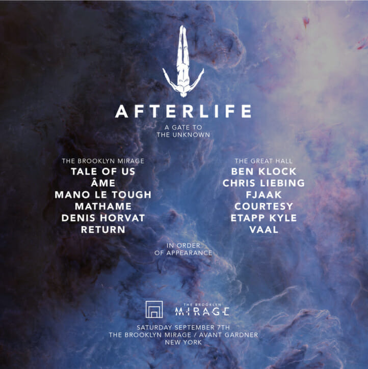 Afterlife makes its return to Brooklyn Mirage on Saturday, September 7th with an amazing lineup consisting of the likes of Tale of Us, Mathame, Ben Klock, FJAAK and more.