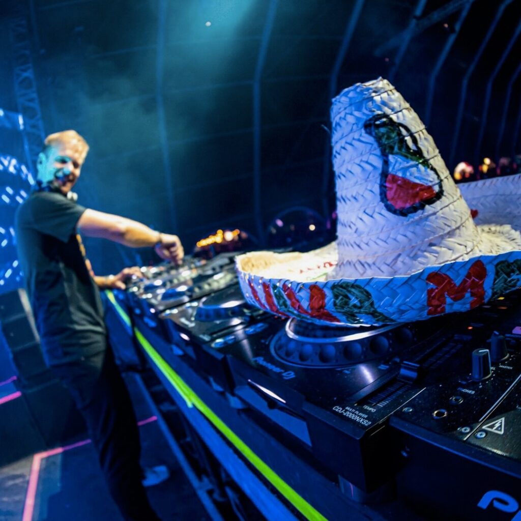 Armin van Buuren showing his Mexican pride with a sombrero by his side.