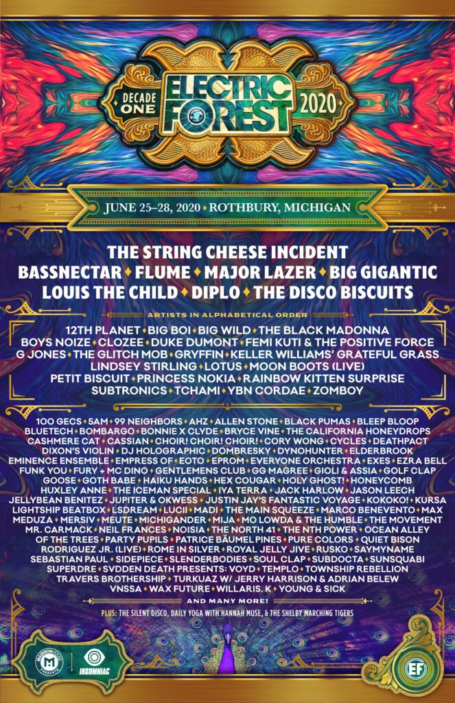 Electric Forest 2020 Line up