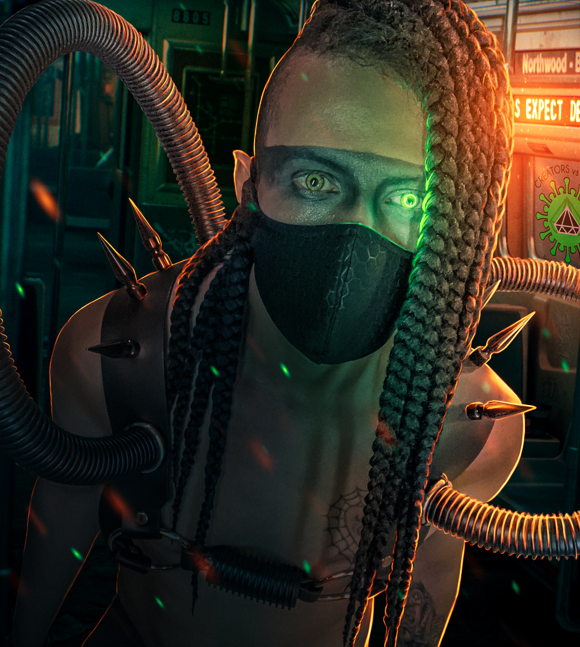 Man with braids and a black mask